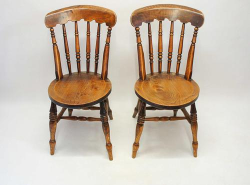 Pair of Good Quality Victorian Windsor Spindle Back Kitchen Chairs in Beech & Elm (1 of 10)