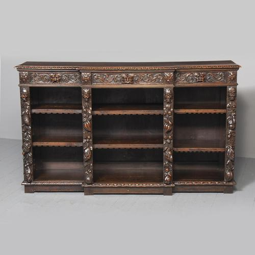19th Century Flemish Carved Oak Open Breakfront Bookcase (1 of 9)