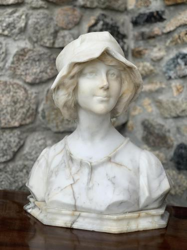 Alabaster Bust of Young Girl Wearing a Bonnet (1 of 25)