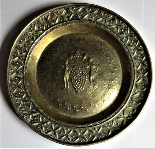 Flemish or German Brass Alms Dish 17th / 18th Century, Grapes of Canaan (1 of 10)