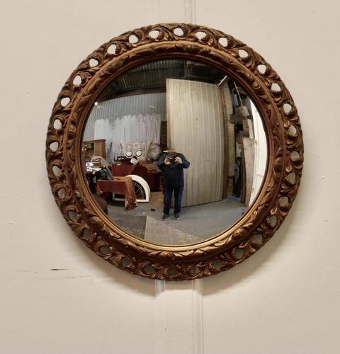 Carved Wood Convex Gilt Wall Mirror (1 of 4)