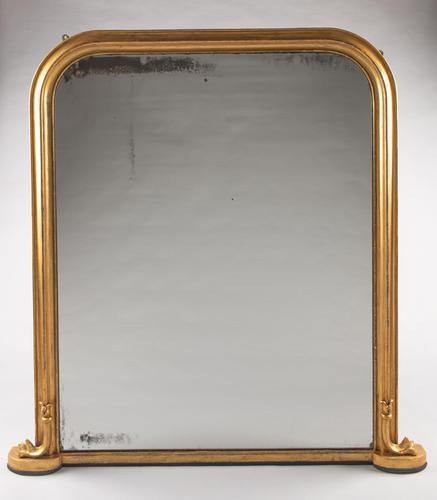 Large Late 19th Century English Victorian Gilt Overmantle Mirror (1 of 6)