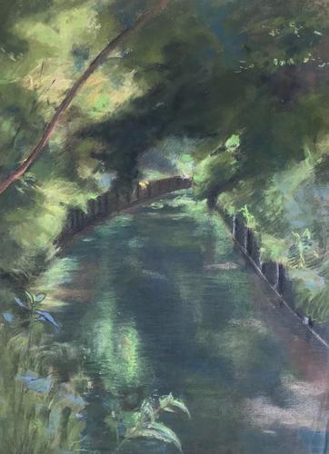 Original pastel 'Trees and canal' by Dennis Gilbert NEAC. B.1922. From a studio collection (1 of 1)