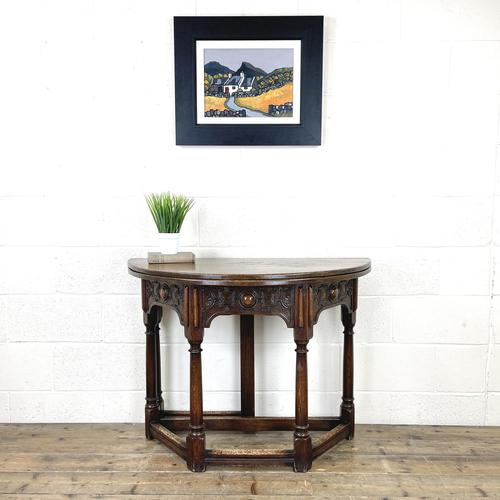 Carved Oak Fold-over Demi Lune Table (1 of 10)