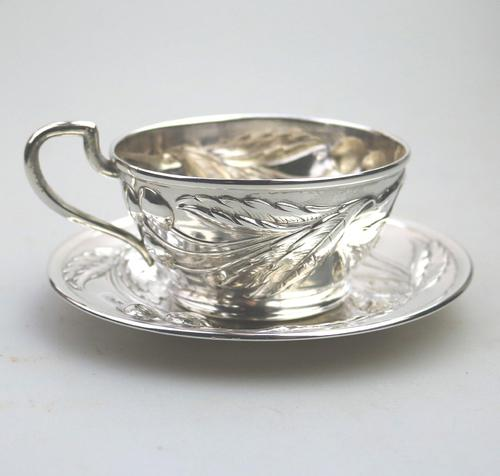 Eduard Friedman - Extremely Rare 800 Solid Silver Vienna Cup & Saucer 1900 (1 of 15)