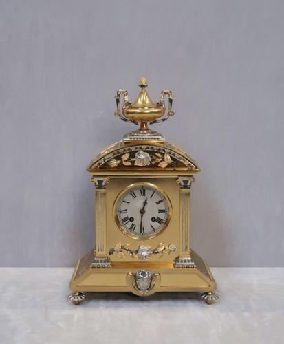 French Belle Epoque Brass & Silver Gilt Mantel Clock (1 of 9)