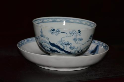 """18th Century Liverpool Porcelain """"Cannon Ball"""" pattern Tea Bowl & Saucer c1770 (1 of 10)"""