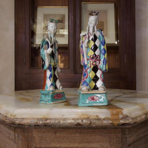 Charming Near Pair of 18th Century Chinese Export Immortals - Harlequin (1 of 11)