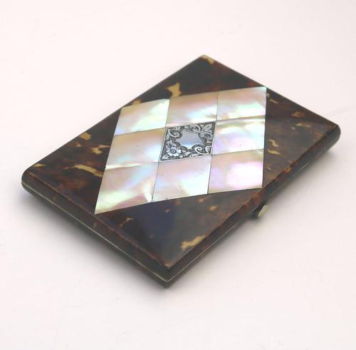 Good Tortoiseshell & Mop & Silver Visiting Card Case c.1880 (1 of 8)