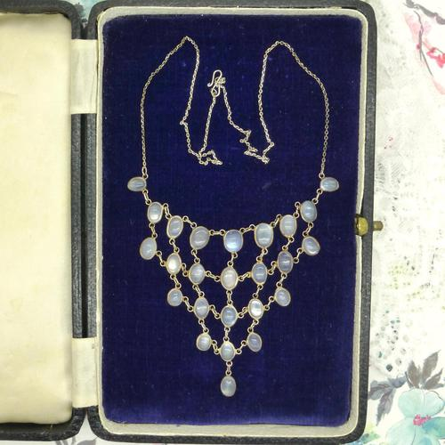 Antique Edwardian Silver Moonstone Festoon Bib Necklace c.1901 (1 of 9)