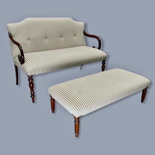 Buttoned Ticking Stripe Sofa & Footstool (1 of 11)