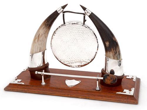 Cow Horn & Oak Decorative Gong with Original Striker (1 of 4)