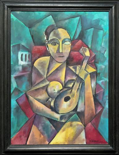Original 20th Century Continental Abstract Cubism Style Portrait Oil Painting (1 of 11)