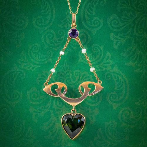 Antique Suffragette Heart Pendant Necklace 9ct Gold Rolason Brothers Dated 1912 (1 of 7)