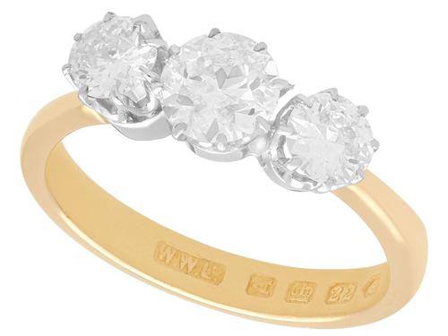 1.70ct Diamond & 18ct Yellow Gold, Trilogy Ring - Antique Victorian 1876 (1 of 9)
