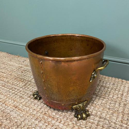 Spectacular 19th Century Victorian Arts & Crafts Antique Copper Log Bucket (1 of 7)