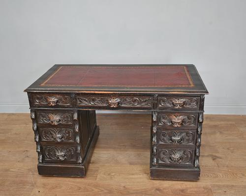 Carved Oak Green Man Pedestal Desk (1 of 5)