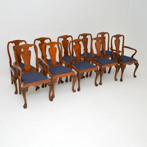 Set of 10 Antique Queen Anne Style Burr Walnut Dining Chairs (1 of 13)