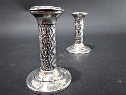 Pair of Arts & Crafts silver Candlesticks (1 of 6)