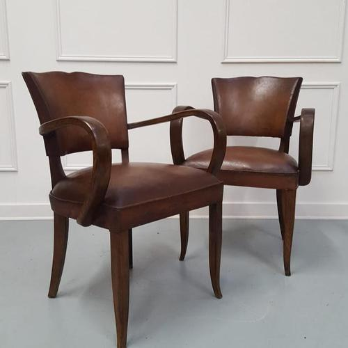 French Vintage Leather Desk Chairs c.1930 (1 of 5)