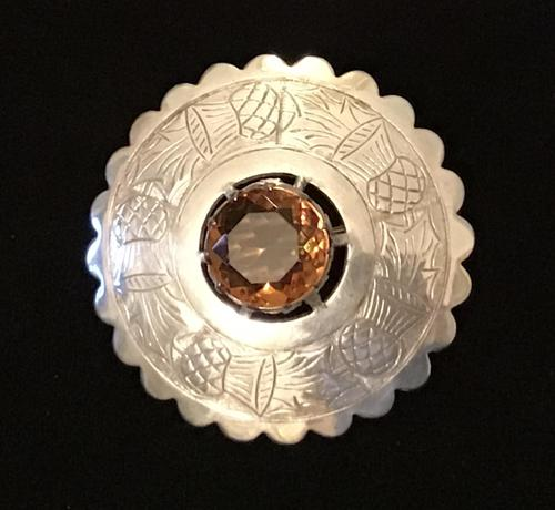 Large Silver Plated and Cairngorm Plaid Brooch (1 of 3)