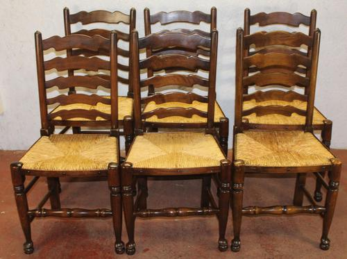 1900's Set of 6 Oak Ladder Back Dining Chairs. Rush Seats (1 of 4)