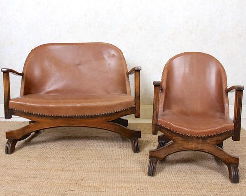 Carved Oak Leather Bucket Sofa & Chair (1 of 24)