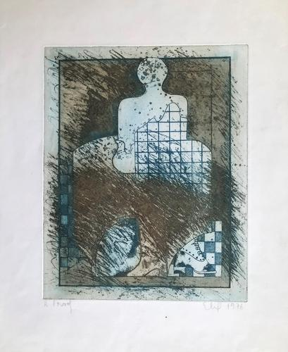 Original Etching 'Seated Figure' Signed Elip & Dated 1976 (1 of 2)