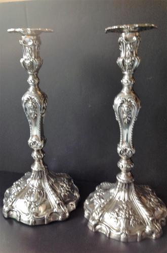 Pair Tall Antique Georgian Silver Candlesticks - 1769 (1 of 10)