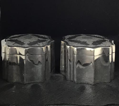 Pair of Mid 19th Century Silver Plated Tea Caddies (1 of 10)