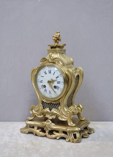 French Rococo Style Bronze Gilt Mantel Clock (1 of 9)