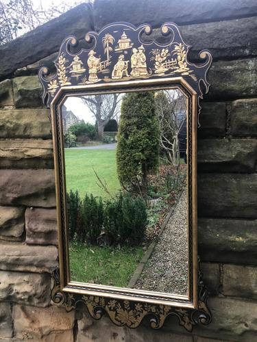 George III Style Lacquered Chinoiserie Pier Mirror (1 of 5)