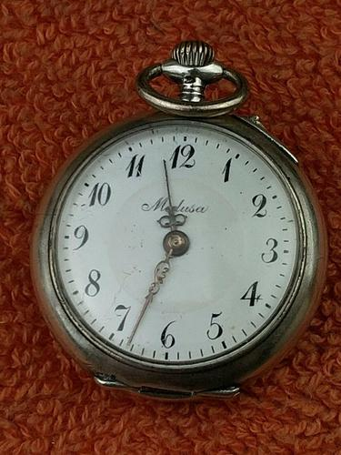 Antique Silver .800 Remontoir Cylindre 10 Rubis Case with Medusa Movement (1 of 6)