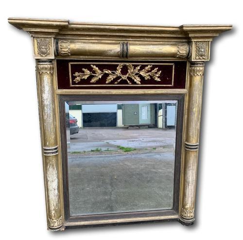 Regency Gilt Pier Mirror With Red Velvet Panel (1 of 7)