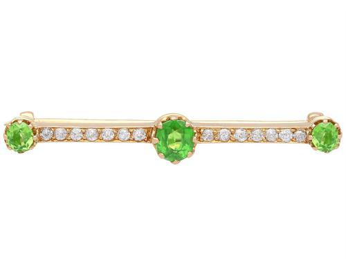 1.01ct Demantoid Garnet & 0.35ct Diamond, 14ct Rose Gold Bar Brooch - Antique c.1900 (1 of 9)