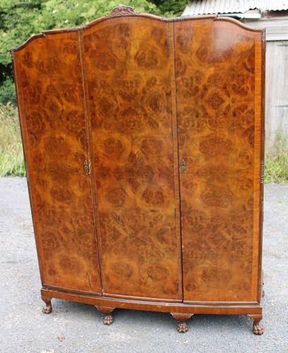 1940s Burr Walnut 3 Door Wardrobe Well Fitted (1 of 6)