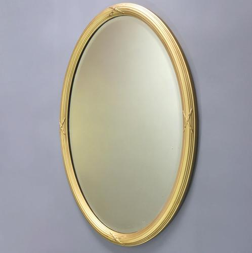 Late 19th Century Gilt Oval Bevelled Mirror with Reeded Frame c.1895 (1 of 7)