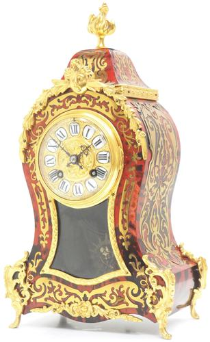 Wow! Phenomenal French Boulle Mantel Clock Ormolu Inlay 8 Day Visible Pendulum Mantle Clock (1 of 10)