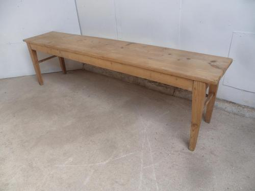 Victorian Antique Pine 4 Seater Kitchen Table / Hall Bench to Wax or Paint (1 of 8)