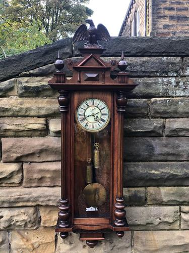 Antique Double Weight Vienna Wall Clock (1 of 9)