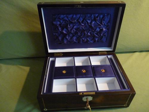 Inlaid Rosewood Jewellery Box + Tray. Plush Interior c 1845 (1 of 12)