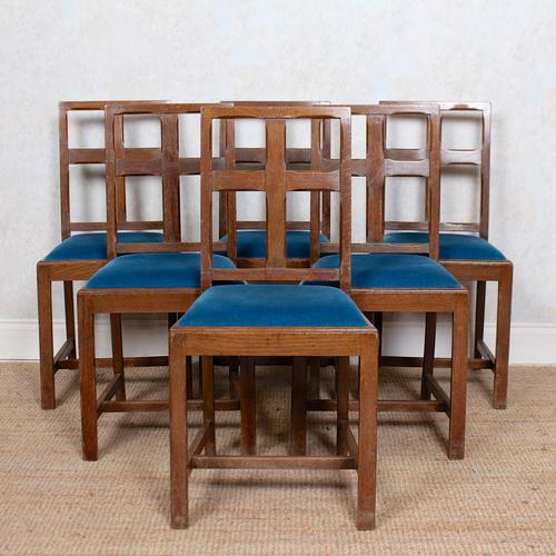 6 Arts & Crafts Carved Oak Dining Chairs (1 of 10)
