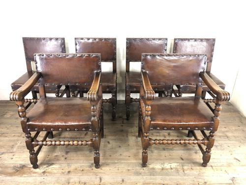 Set of Six Oak & Leather Dining Chairs (1 of 23)