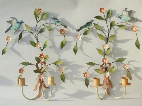 Pretty Pair of Vintage Metal Wall Sconce (1 of 6)