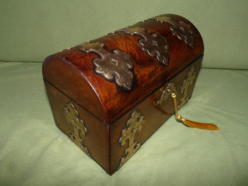 Dome Top Fitted Walnut Stationery Box c.1875 (1 of 11)