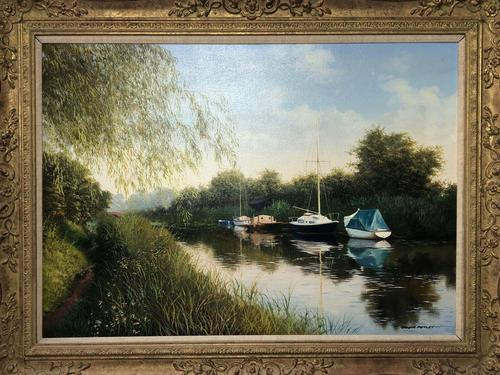 20th Century Oil Painting Pastoral Boats Heybridge Basin Canal Signed Listed Graham Petley (1 of 12)