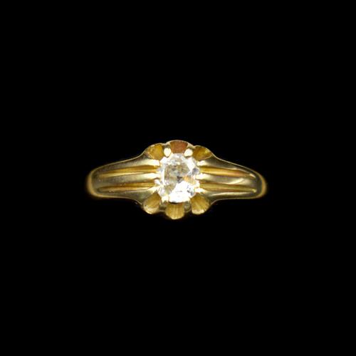 Antique Old Cut Diamond Solitaire Belcher 18ct Gold Ring (1 of 10)