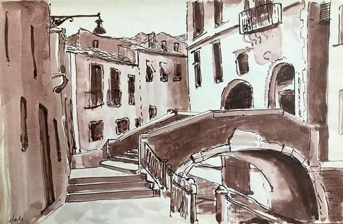 Original sepia watercolour 'a canal in Venice' by Helen Hale. ROI. B.1936 Signed c.1970 (1 of 1)