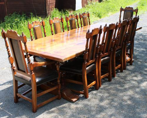 1960's Oak Dining Suite with Refectory Table & Set 10 Chairs - 8+2 Carvers (1 of 9)