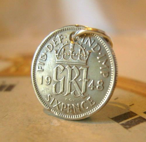 Vintage Pocket Watch Chain Fob 1948 Lucky Silver Sixpence 6d Coin Fob (1 of 7)